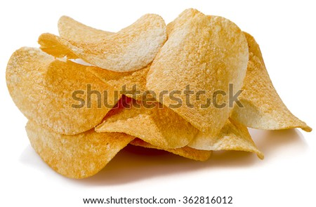 Spicy potato chips isolated on white background. - stock photo