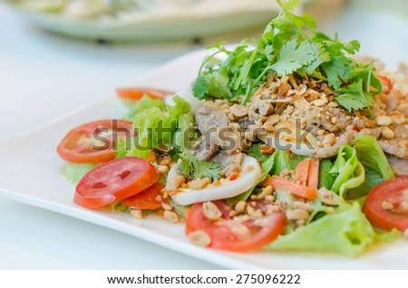spicy salad with egg , pork and fresh vegetable - stock photo