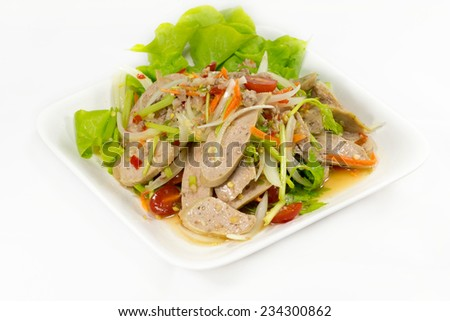Spicy salad with pork and green - stock photo