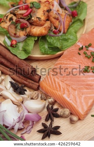 Spicy salmon salad delicious with raw salmon - stock photo