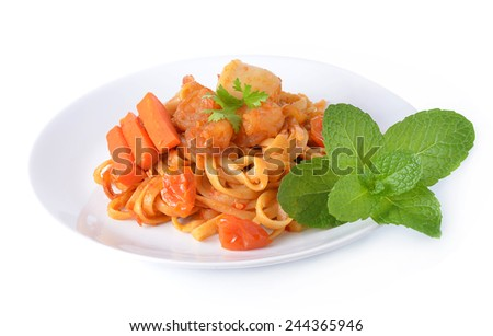 Spicy seafood noodles in white isolated - stock photo