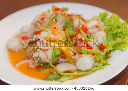 Spicy seafood salad in Thailand.