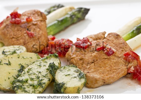 spicy turkey medallions with asparagus - stock photo