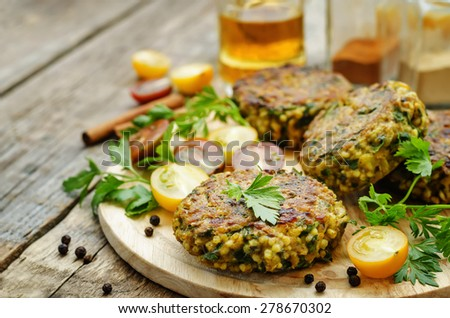 spicy vegan curry burgers with millet, chickpeas and herbs. the toning ...