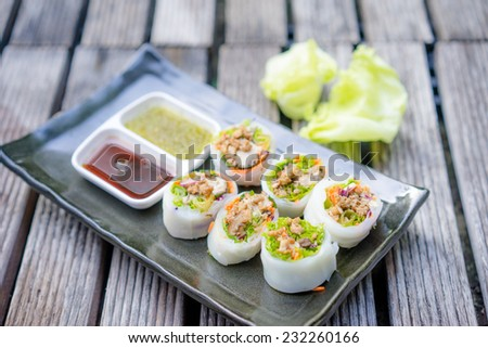 spicy vegetables sushi roll for thai style - stock photo