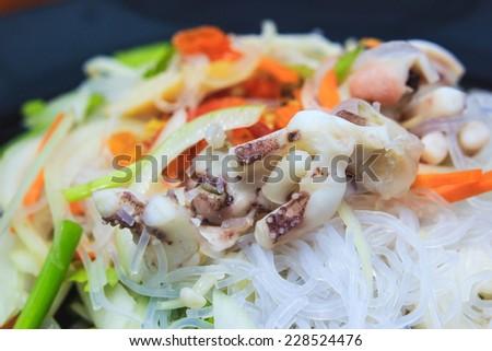 spicy vermicelli salad - stock photo