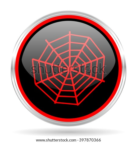 spider modern web black and red metallic modern web design glossy circle icon