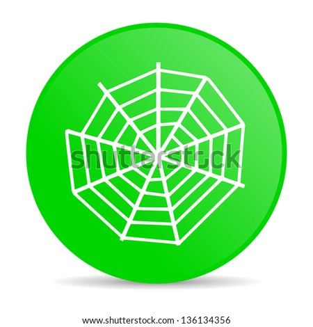spider web green circle web glossy icon