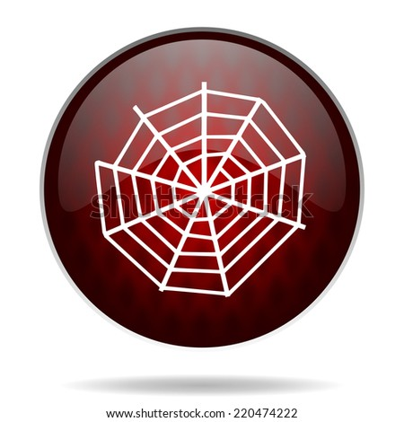 spider web red glossy web icon on white background