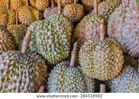 Spiky and smelly Philippines Durian for sale in a local market - stock photo