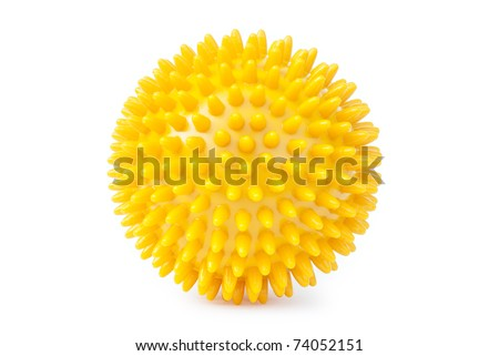 spiky yellow ball isolated on white - stock photo