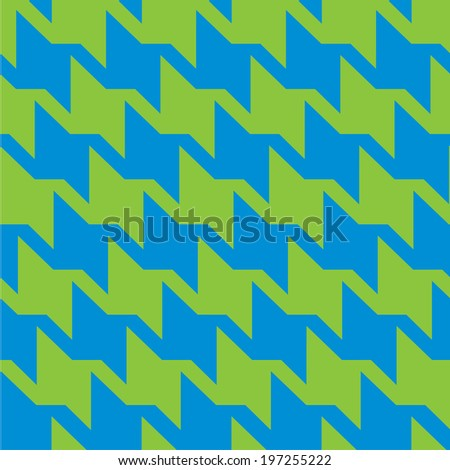 Spiky zigzag houndstooth pattern in trendy bright green and blue repeats seamlessly. - stock photo