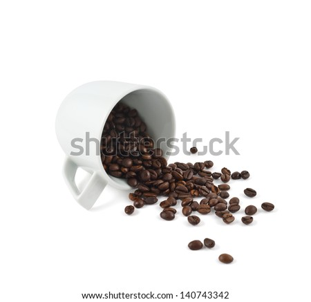 Spilled coffee beans from the white ceramic cup isolated over white background - stock photo