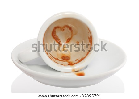 spilled coffee with heart - stock photo