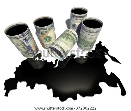 Spilled from barrels oil in the form of a map of Russia - stock photo