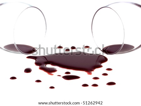 Spilled red wine isolated on white background - stock photo