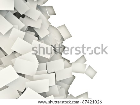 spilling sheets of paper