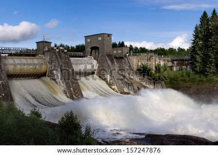 Spillway on hydroelectric power station dam in Imatra - Imatra, Finland.  - stock photo