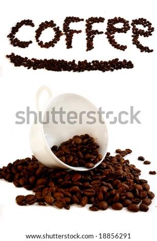spilt coffee beans - stock photo
