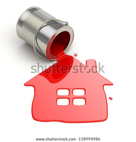 Spilt paint and house symbol. Paintig your home. 3d - stock photo