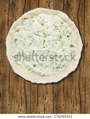 wood stock photo spinach and cheese burek with fresh cheese from ...