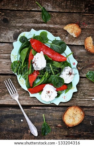 spinach and  goat cheese salad - stock photo