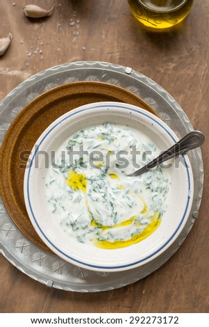 Spinach and yogurt dip - stock photo