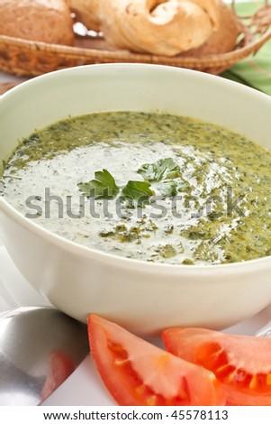spinach cream soup - stock photo