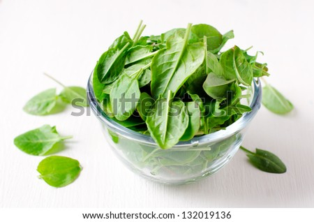Spinach in a glass bowl