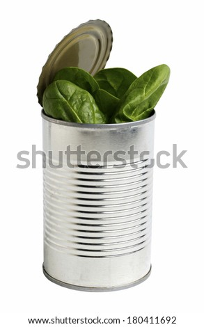 spinach in tin can - stock photo