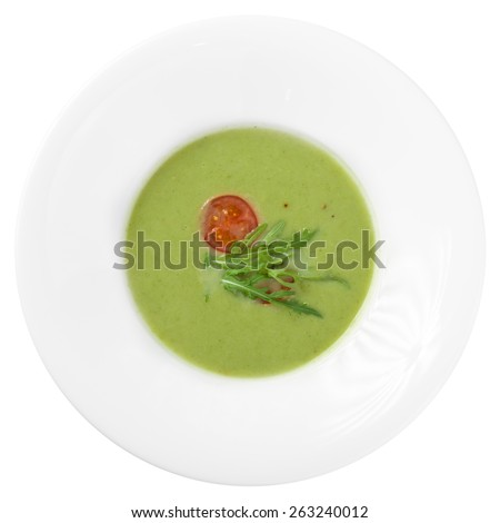 Spinach soup isolated on white background. Clipping path - stock photo