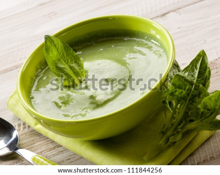 spinach soup, vegetarian food - stock photo