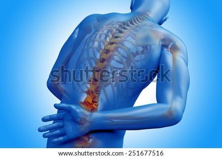 Spine pain - vertebrae trauma - stock photo