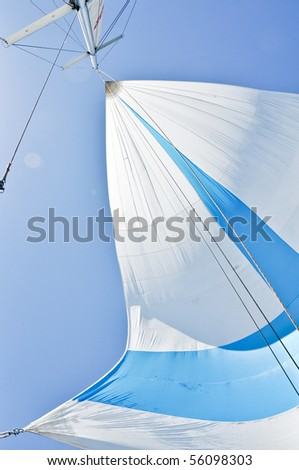 spinnaker during regatta - stock photo