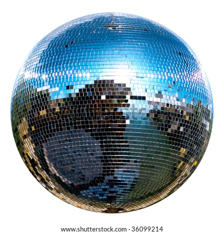 spinning mirror disco ball isolated on white - stock photo