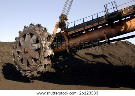 Spinning part of rotor digger at a coal mine
