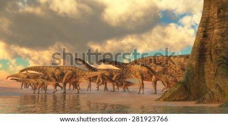 Spinophorosaurus Dinosaur Travel - Spinophorosaurus was a herbivorous dinosaur that lived in the Jurassic Period of Niger, Africa. - stock photo