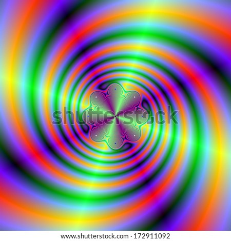 Spiral Beams / Digital abstract fractal image with a green beam and orange and purple spiral design. - stock photo