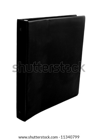 spiral black binder isolated on white - stock photo