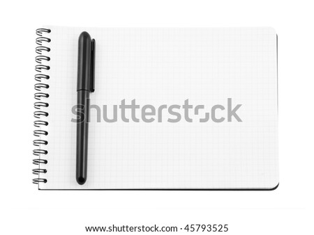 Spiral bound note pad and pen isolated on white - stock photo