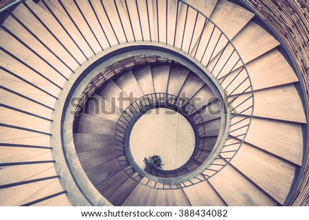 Spiral circle Staircase decoration interior - Vintage Filter