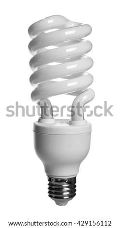 Spiral energy saving light bulb on white background - stock photo