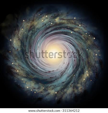 Spiral galaxy - stock photo