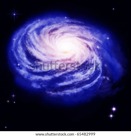 Spiral Galaxy - beautiful view of deep space - stock photo