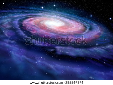 Spiral galaxy, illustration of Milky Way - stock photo