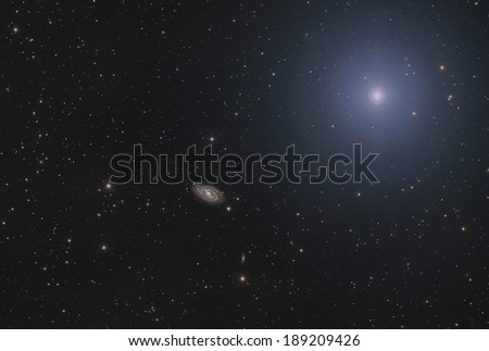 Spiral Galaxy M 109 in Ursa Major, very close to The Big Dipper - stock photo