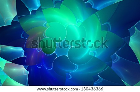 spiral green colorful abstract space fractal with lights - stock photo