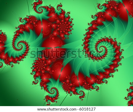 Spiral in christmas colors of red and green. - stock photo