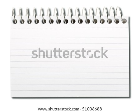 Spiral index card isolated on white. - stock photo