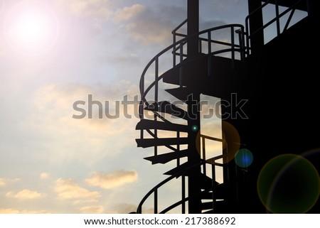 spiral iron staircase - stock photo